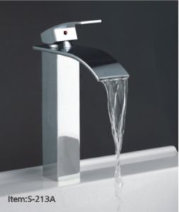 Contemporary High Body Bathroom Waterfall Faucet Mixer Tap