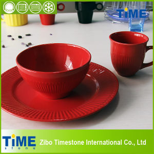 16PCS Rose Stoneware Simple Embossed Dinner Set (6100C-060) pictures & photos