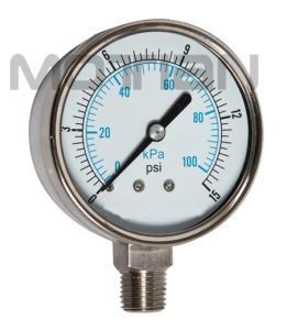 2.5 Inch All Stainless Steel Glass Surface Pressure Gauge