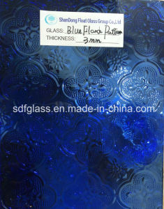 Tinted Blue Flora Patterned Glass