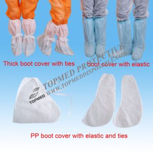PP Nonwoven Disposable White Boot Covers with Tie pictures & photos