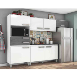 Compact White and Grey Kitchen Cabinet 7 Doors 2 Drawers with Counter  Microwave Space for Apartment or Hotel Use