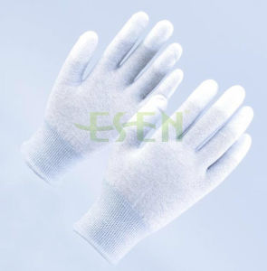 ESD PU Coated Carbon Fiber Fingertips Protection Gloves for Cleanroom Use pictures & photos