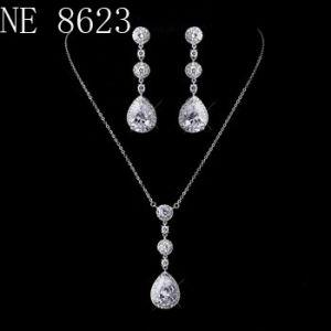 China Gold Marquise Leave V Shape Luxury Cz Cubic Zirconia Necklace Earring Set Wedding Cz Jewelry Set Bridal Cz Jewelry Set China Wedding Jewelry Set And Cz Jewelry Price
