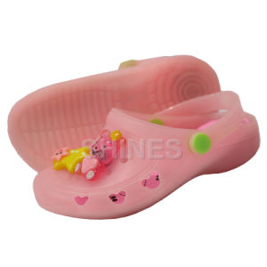 Pink PVC Garden Shoes with Star and Bear Ornament for Children