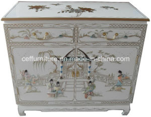Mother Of Pearl Inlaid White Shine Hand Painted Cabinet
