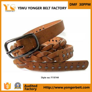 Hot Sale PU Brown Studded Braided Fabric Belt for Men