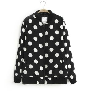 2015 European Style Long Sleeve Polka DOT Print Bomer Jacket pictures & photos