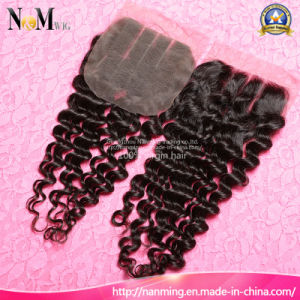 No Tangle No Shedding No Lices Swiss Brazilian Deep Wave Lace Closure Virgin Hair pictures & photos