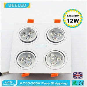 12W Warm White Square Aluminum High Power Dimmable LED Downlight