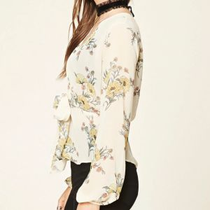 Ladies Fashion Chiffon Floral Print Back Split Bandage Blouse pictures & photos