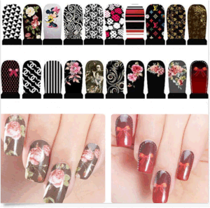 Fashionable Colorful Flower Temporary Water Transfer Nail Sticker