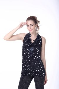 Women′s Hanging Blouse Scatter DOT Printing Top New Blouse Back Neck Design Sexy Sleeveless Blouse pictures & photos