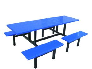 4 Seats Steel Frame Fiberglass Table And Chair For Canteen