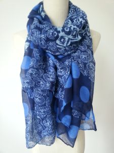 Girls Fashion Accessories Navy Print Polyester Scarf