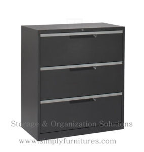 3 Drawer Black Lateral File Cabinet for Office pictures & photos