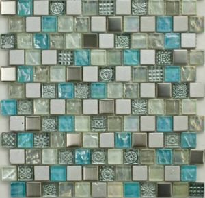Painted Stone & Crystal Mix Glass Mosaic Tile (M8PTb31)