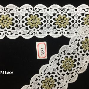 7cm Gold Geometric DOT Flower Wide Lace Fabric Trim for Garment Textile Hme887 pictures & photos