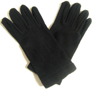 Lady Fashion Black Polar Fleece Knitted Winter Warm Gloves (YKY5445) pictures & photos