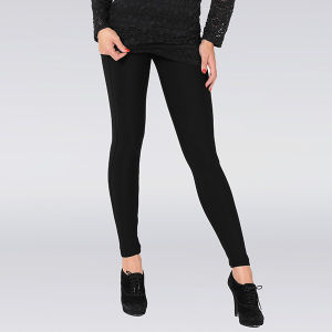 Hot Lady Classic Black Plain Leggings with Wide Band