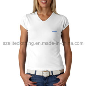 Short Sleeve V-Neck T-Shirts for Women (ELTWTJ-138) pictures & photos