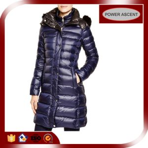 2015 Ladies Shiny Purple Long Fill Goose Down Jacket pictures & photos
