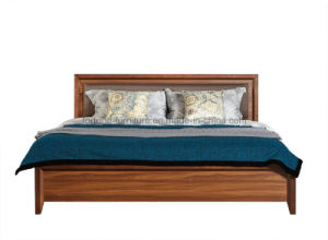Bedroom Furniture/Modern Wooden Walnut Double Bed (Camel 1011)