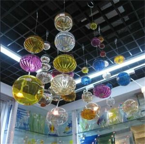 Colored Glass Decorative Hanging Glass Balls With Decoration