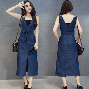 Fashion Cotton Long Denim Dress Summer Women′s Fashion Pocket Sundresses V-Neck Halter Loose Sleeveless Ladies Dress Denim Party Dresses Blue Long Beach Dresses
