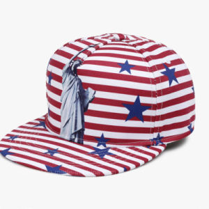High Quality Sublimation Printed USA Flag Flat Bill Snapback Cap Hats  Wholesale