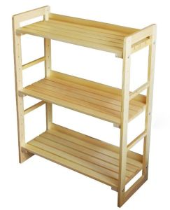 Wood Kitchen Furniture Three Layers Solid Rack