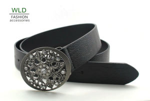 Flower Metal Buckle Western PU Belt Ky5812 pictures & photos