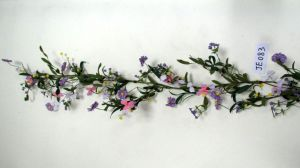 Je083 Spring Colorful Handmade Polyester Orchid & Wild Flower Wreath Artificial Flowers