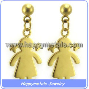 Stainless Steel Golden Girl Charms Earrings (E9590-1)