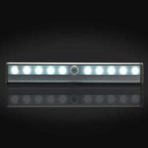 Stick-on Anywhere Portable 10 LED Wireless Motion Sensing Light Bar with Magnetic Strip (Battery Operated) - Silver pictures & photos