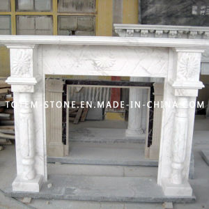 Modern Carved Surround White Marble Stone Fireplace for Indoor / Outdoor