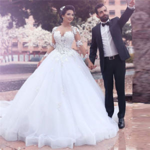 Said Mohamed Wedding Dress A Line White Long Sleeve Lace Liques Organza Customized Made