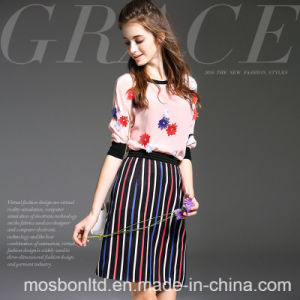 Europe Women′s Fashion Silk Short Sleeve Tops T-Shirt + Long Skirt pictures & photos