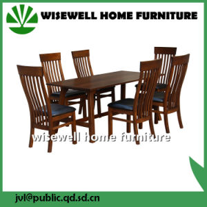 Solid Oak Leather Cafe Furniture with 6 Chair (W-DF-0675)