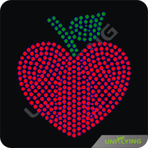 Attractive Red Apple Motif Rhinestone Transfer Iron on