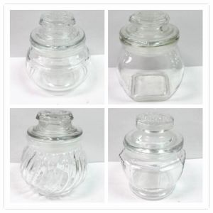 Small Glass Candy Jar/Spice Jar/Food Storage Jar with Glass Lid