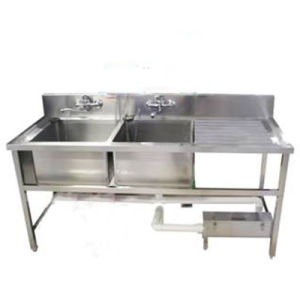 Captivating Stainless Steel Sink With 2 Bowls And Drain Table For Restaurant Kitchen
