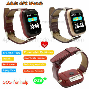 Elderly Colorful Touch Screen Heart Rate GPS Tracker Watch (D28) pictures & photos