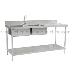 C01-B11 Stainless Steel Double Commercial Kitchen Sink with Right Grooved  Board Including The Lower Shelf