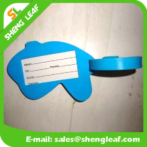 Soft Rubber Luggage Tag with Black String (SLF-LT071)