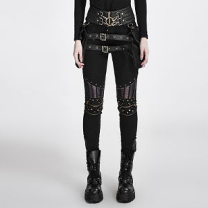 K-258 Autumn Black Steampunk PU Leather Stitching Rivets Sexy Woman Trousers