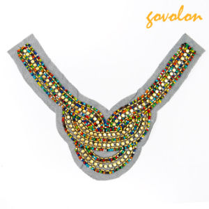 The Colorful National Customs of Deep V Shape Wooden Applique pictures & photos