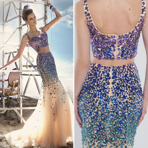 Sparkly Rhinestones Two Piece Mermaid Girls Long Prom Dresses (TM-PD075)