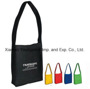 Promotional Non-Woven Messenger Tote Bag with Magic Tape Closure pictures & photos