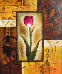 Abstract Single Red Flower Oil Painting for Home Decoration (LH-264000)